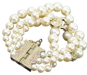 Chanel Chanel CHANEL Bracelet Pearl White Gold Pink Faux Crystal Ladies 52202c