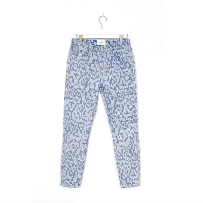 Item - Blue Light Wash High Waist Stiletto In Inky Leopard Straight Leg Jeans Size 6 (S, 28)