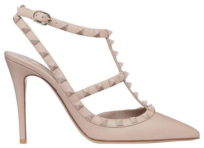 Item - Powder Nude Eu38/Us8 Rockstud Ankle Strap with Tonal Studs 100 Mm Pumps Size EU 38 (Approx. US 8) Regular (M, B)