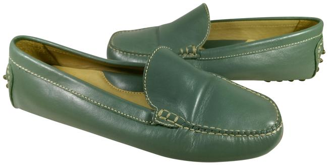 Item - Green W/White Stitching Women's Leather Dress Casual Driver Slip-on Loafer 5b Flats Size US 5 Regular (M, B)