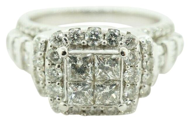 White Gold Women's Cluster Square Engagement Ring White Gold Women's Cluster Square Engagement Ring Image 1