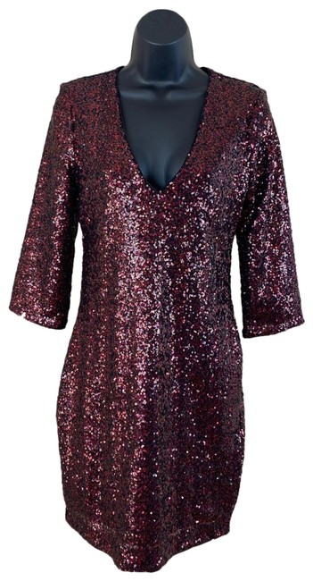 Item - Red & Black Sequin Short Night Out Dress Size 6 (S)