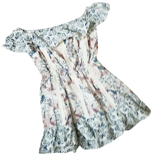 Item - White Bahia Mixed Floral Print Off The Shoulder Ladder Lace Mini Short Casual Dress Size 2 (XS)