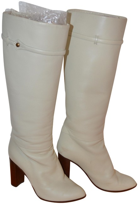 Item - Cream White High Leather Patent Ma0065 Boots/Booties Size EU 37 (Approx. US 7) Narrow (Aa, N)