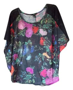 H&M Black Floral Pattern Lace Top Black/Multi