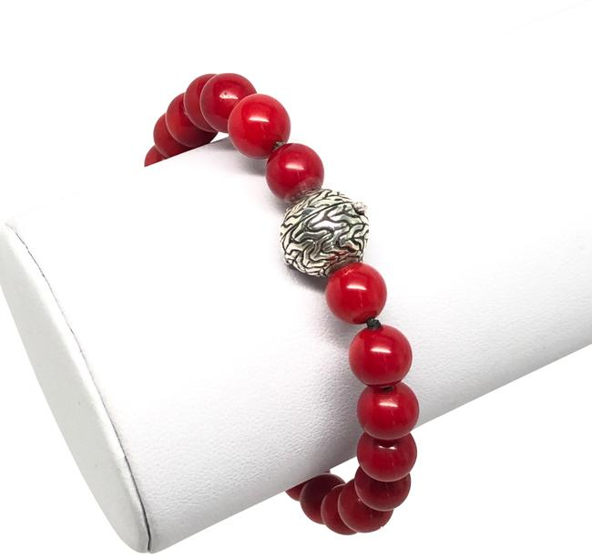 Item - Sterling Silver Classic Chain Ball Red Agate Bead Bracelet