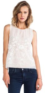Rachel Zoe Embroidered Floral Sheer Muscle Top White