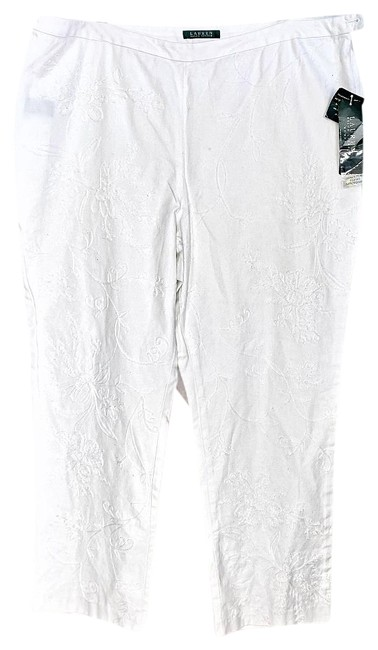Item - White Embroidered 18w Pants Size 18 (XL, Plus 0x)