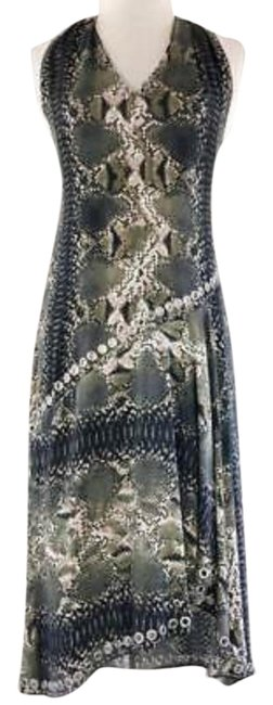 Item - Multicolor Embellished Asymmetrical Snake Print Silk Small Mid-length Short Casual Dress Size 4 (S)