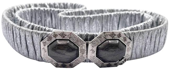 Item - Silver Grey Chanel Hexagon Stone Leather Elastic Belt