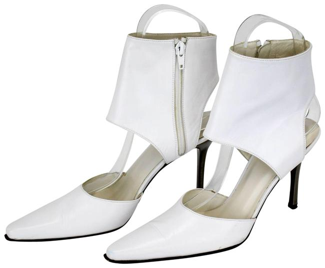 Item - White Ankle Cut Out Pointed Toe Booties Pumps Size US 7.5 Regular (M, B)