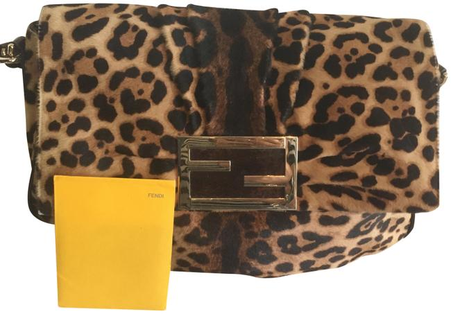 Item - Lg Leopard Spotted Black and Brown Leather Pony Hair Baguette