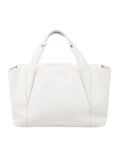 Item - Quilted White Calfskin Leather Tote