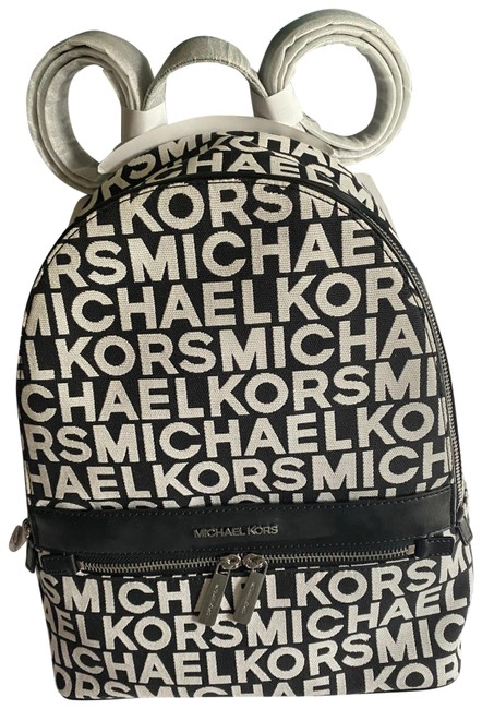 Item - Mk Black and White Canvas Backpack