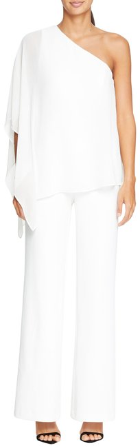 Item - White Chiffon Cape Overlay Stretch Crepe One Shoulder Romper/Jumpsuit