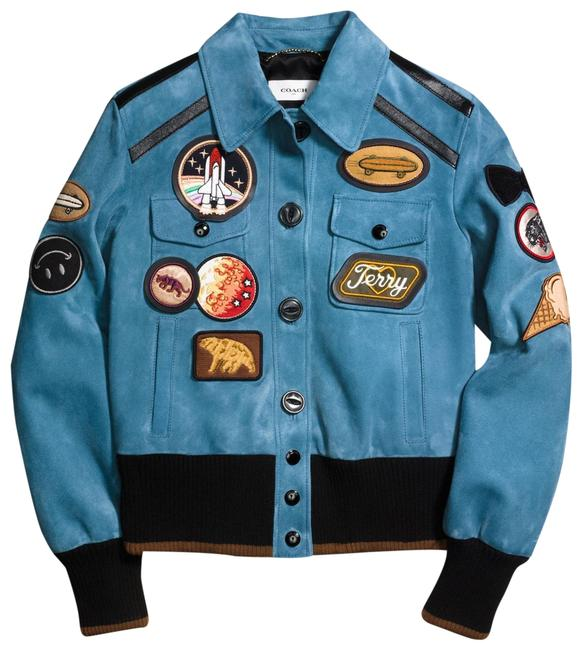Item - Blue Women's Nasa Suede with Patches Jacket Size 4 (S)