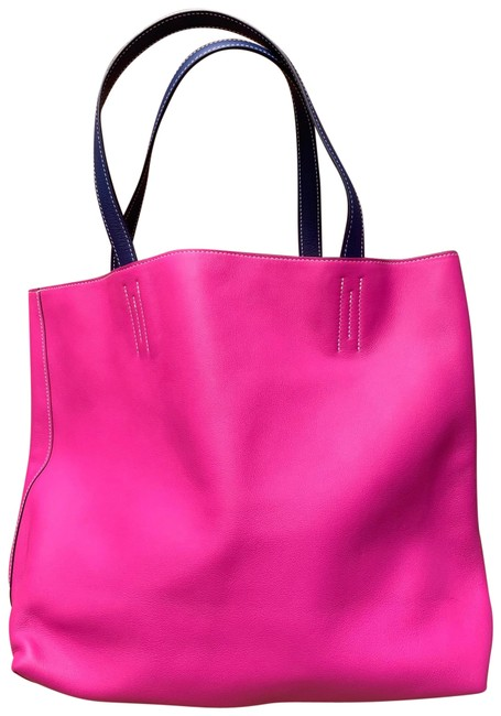 Item - Double Sens Bag 45 Pink & Grey Leather Tote