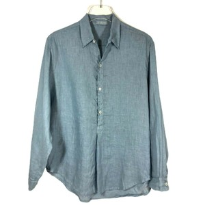 CP Shades Linen Beach Light Weight Button Down Shirt Blue