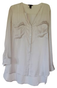 H&M Buttons Mother Of Pearl Button Down Shirt Off white