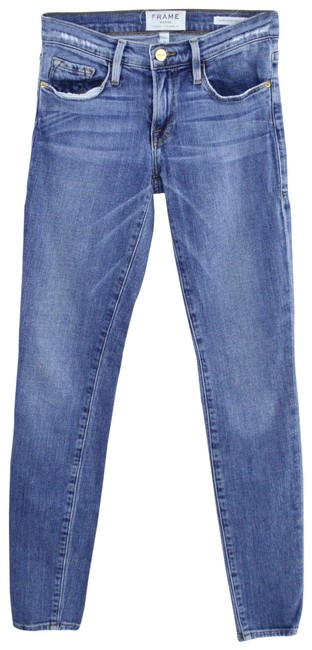Item - Blue Medium Wash Denim Forest Meadow #159-75 Skinny Jeans Size 24 (0, XS)