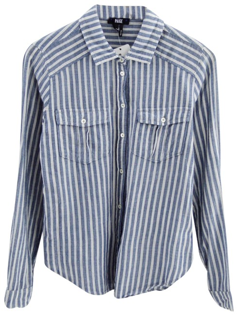 Item - Blue/ White Caldwell Striped #159-71 Button-down Top Size 2 (XS)