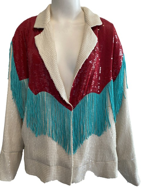 Item - White Red and Turquoise Western Sequin and Fringe Blazer 44 Jacket Size 10 (M)
