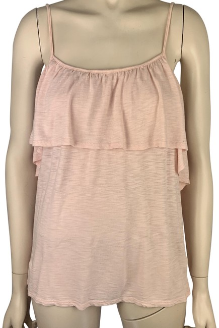 Item - Pink Camisole with Large Ruffle Spaghetti Straps Tank Top/Cami Size 6 (S)