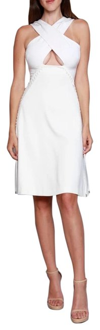 Item - Ivory Lace-up Criss-cross Mid-length Cocktail Dress Size 6 (S)