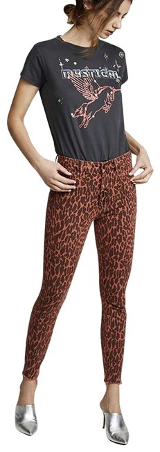 Item - Orange Coated The Looker High Waisted Ankle Fray Leopard B9 Skinny Jeans Size 23 (00, XXS)