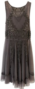 Chan Luu Embellished Sequin Beaded Sleeveless Sheer Dress