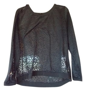 H&M Lace Cheetah Long Sleeve Top black