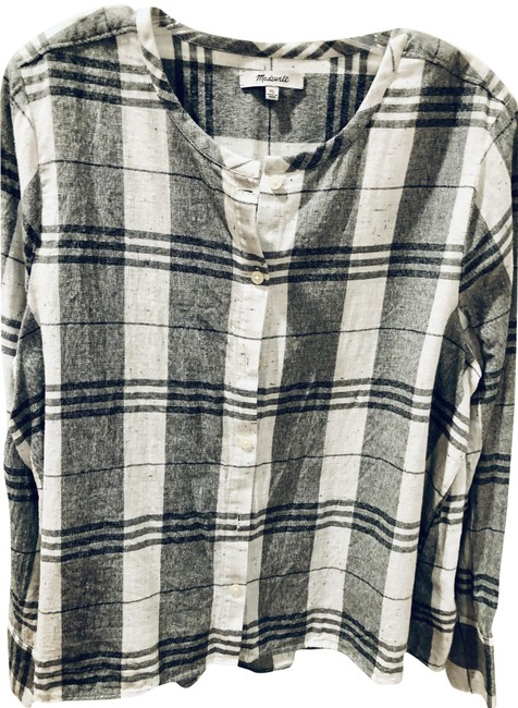 Item - Cream-grey Plaid Fall 2019 Collection Button-down Top Size 16 (XL, Plus 0x)