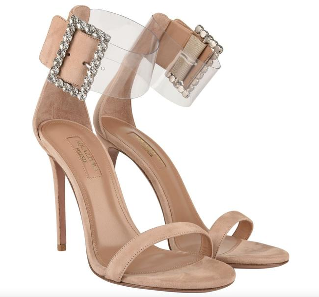 Aquazzura Beige Casablanca Crystal Buckle Suede Sandals Pumps Size EU 36 (Approx. US 6) Regular (M, B) Aquazzura Beige Casablanca Crystal Buckle Suede Sandals Pumps Size EU 36 (Approx. US 6) Regular (M, B) Image 1
