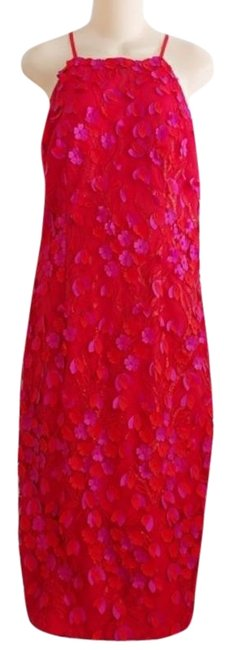 Item - Red Pink Infusion 3d Flower Halter Mid-length Night Out Dress Size 10 (M)