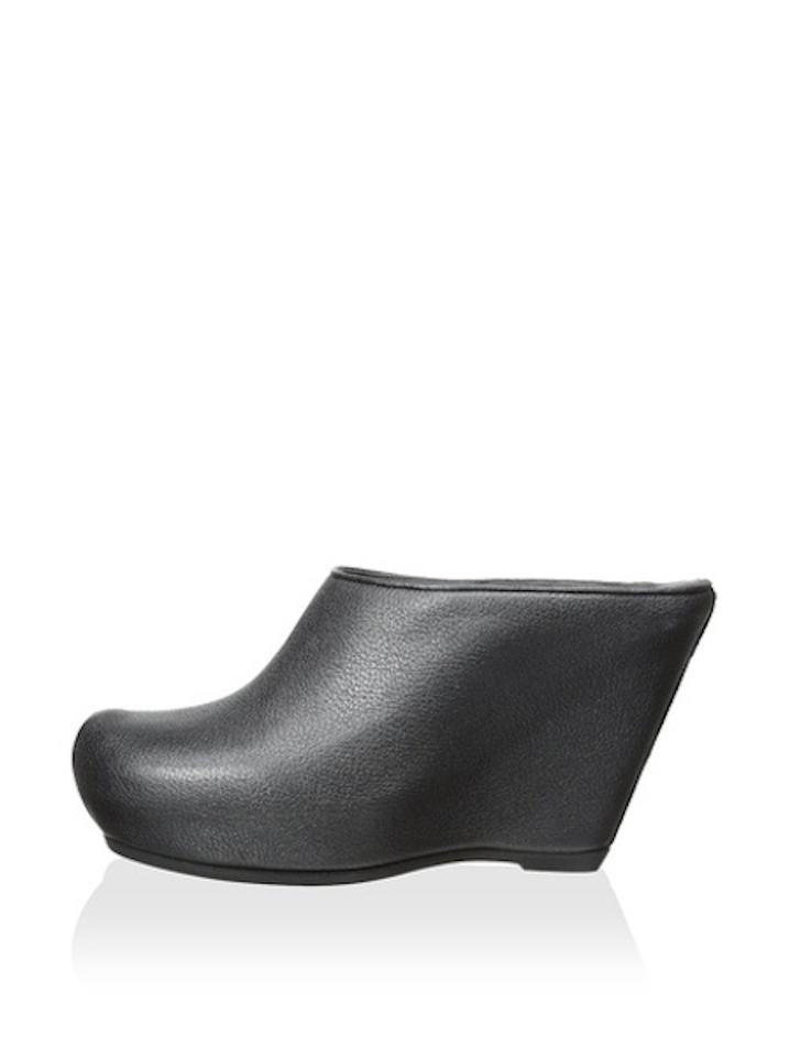 0cffd0ac20c Rick Owens Leather Wedge Platform Black Mules Image 11. 123456789101112