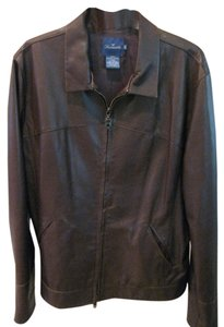 Faconnable Dark Brown Leather Jacket