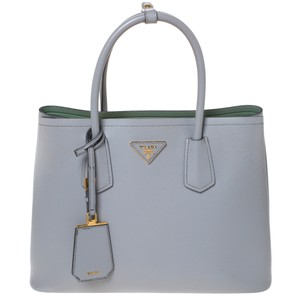 Prada Leather Double Tote in Grey