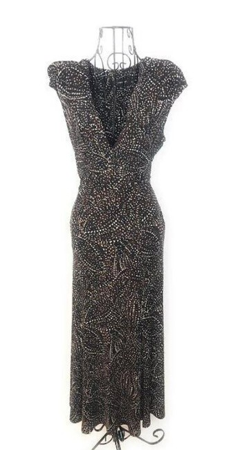 Item - Black Sleeveless Patterned Maxi Long Short Casual Dress Size 6 (S)