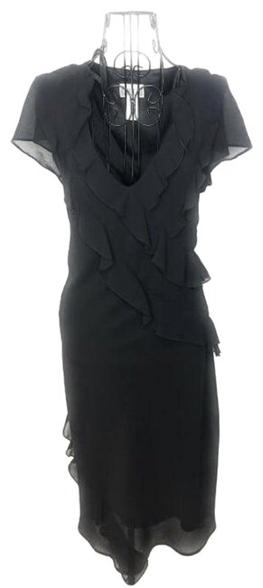 Item - Black V Neck Ruffled Chiffon Mid-length Short Casual Dress Size 12 (L)
