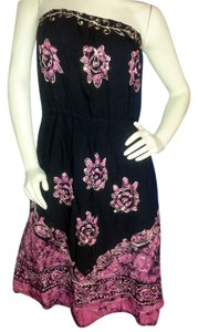 Pink and gold Batik on Black Maxi Dress by Other