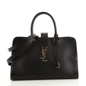 Saint Laurent Monogram Leather Satchel in Black