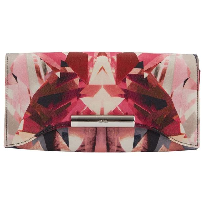 Item - Kaleidoscope Crystal and Leather Pink Satin Clutch