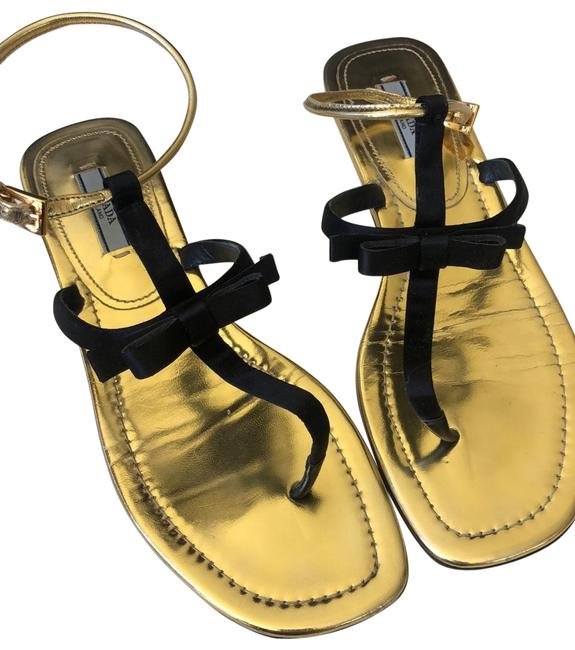 Prada Black and Gold Sandals Size US 8.5 Regular (M, B) Prada Black and Gold Sandals Size US 8.5 Regular (M, B) Image 1