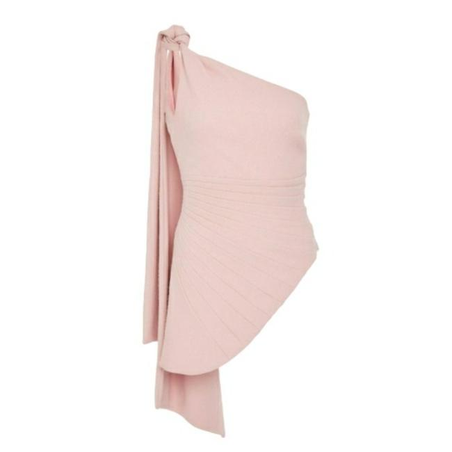 Brandon Maxwell Fan Pleated One Shoulder Pink Top Brandon Maxwell Fan Pleated One Shoulder Pink Top Image 1