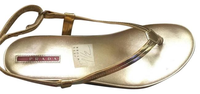 Item - Gold Summer In Leather Sandals Size US 9.5 Wide (C, D)