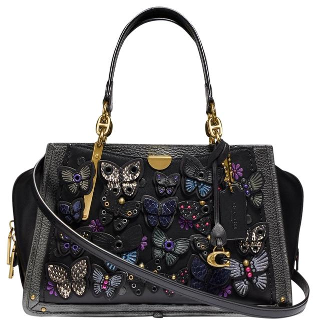 Item - Dreamer Whipstitch Butterfly Applique Black Leather Satchel