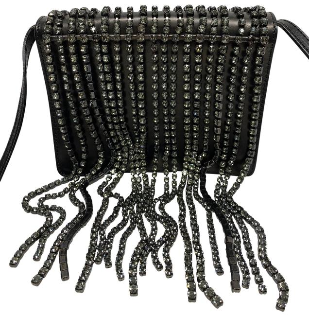 Item - Fringe Crystal Black Leather Cross Body Bag