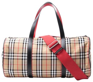 Burberry Leather Check Duffle Military Red Travel Bag