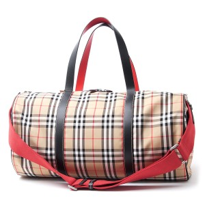 Burberry Tote Check Canvas Duffle Military Red Travel Bag