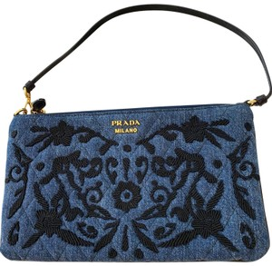 Prada Denim/black Clutch